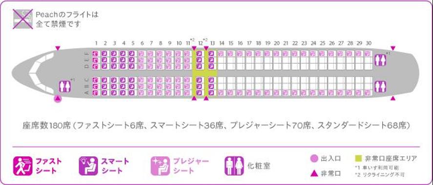 """ピーチの座席数は全部で180席! どんな特徴があるの? """" class="""